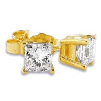 3/4ct Fine Quality Princess Diamond Stud Earrings In Yellow Gold