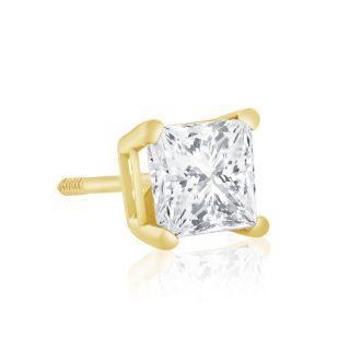1ct Princess Diamond Stud Earrings in 14k Yellow Gold