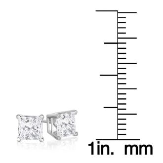 1 1/4ct Fine Quality Princess Diamond Stud Earrings In 14k White Gold