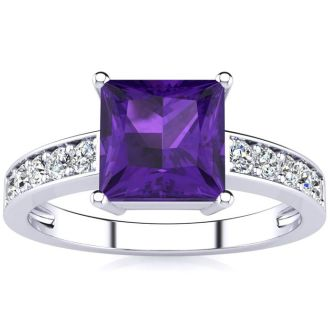 Square Step Cut 1 2/3ct Amethyst and Diamond Ring in 14K White Gold