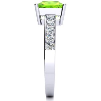 Square Step Cut 1 1/2ct Peridot and Diamond Ring in 14K White Gold