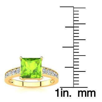 Square Step Cut 1 1/2ct Peridot and Diamond Ring in 14K Yellow Gold