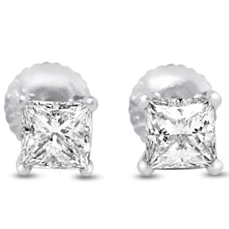 2ct Princess Cut Diamond Stud Earrings, 14k White Gold