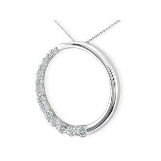 Sparkly 3/4ct Circle Style Journey Diamond Pendant in 14k White Gold