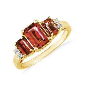 Regal 2 1/3ct Garnet and Diamond Ring in 14k Yellow Gold