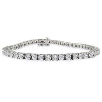 6ct Classic Diamond Tennis Bracelet Set in 14k White Gold