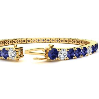 9 Carat Tanzanite and Diamond Alternating Tennis Bracelet In 14 Karat Yellow Gold, 7 Inches