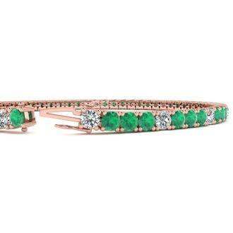 4 1/3 Carat Emerald And Diamond Alternating Tennis Bracelet In 14 Karat Rose Gold, 7 Inches