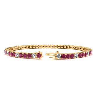 5 Carat Ruby And Diamond Alternating Tennis Bracelet In 14 Karat Yellow Gold, 7 Inches