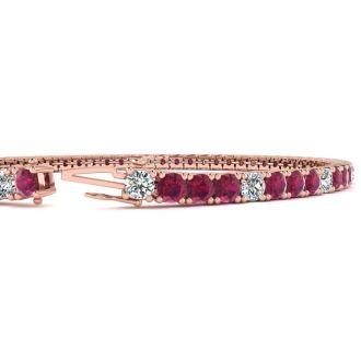 5 Carat Ruby And Diamond Alternating Tennis Bracelet In 14 Karat Rose Gold, 7 Inches
