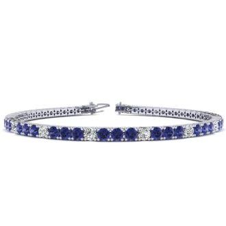 5 Carat Tanzanite And Diamond Alternating Tennis Bracelet In 14 Karat White Gold, 7 Inches