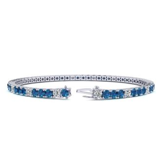 4 Carat Blue And White Diamond Alternating Tennis Bracelet In 14 Karat White Gold, 7 Inches