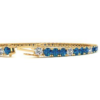 4 Carat Blue And White Diamond Alternating Tennis Bracelet In 14 Karat Yellow Gold, 7 Inches