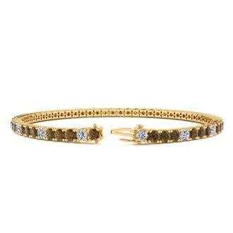 4 Carat Chocolate Bar Brown Champagne And White Diamond Alternating Tennis Bracelet In 14 Karat Yellow Gold, 7 Inches