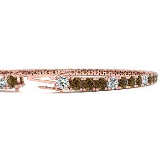4 Carat Chocolate Bar Brown Champagne And White Diamond Alternating Tennis Bracelet In 14 Karat Rose Gold, 7 Inches