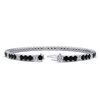 4 Carat Black And White Diamond Alternating Tennis Bracelet In 14 Karat White Gold, 7 Inches