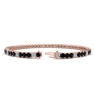4 Carat Black And White Diamond Alternating Tennis Bracelet In 14 Karat Rose Gold, 7 Inches