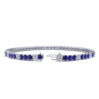 5 Carat Sapphire And Diamond Alternating Tennis Bracelet In 14 Karat White Gold, 7 Inches