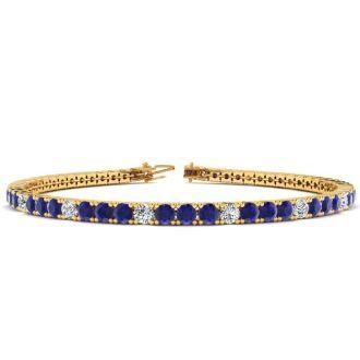 5 Carat Sapphire And Diamond Alternating Tennis Bracelet In 14 Karat Yellow Gold, 7 Inches