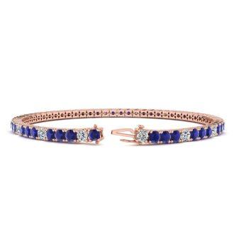 5 Carat Sapphire And Diamond Alternating Tennis Bracelet In 14 Karat Rose Gold, 7 Inches