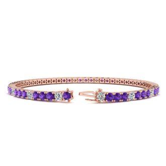 4 Carat Amethyst And Diamond Alternating Tennis Bracelet In 14 Karat Rose Gold, 7 Inches