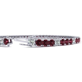 4 1/3 Carat Garnet And Diamond Alternating Tennis Bracelet In 14 Karat White Gold, 7 Inches