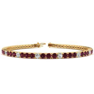 4 1/3 Carat Garnet And Diamond Alternating Tennis Bracelet In 14 Karat Yellow Gold, 7 Inches