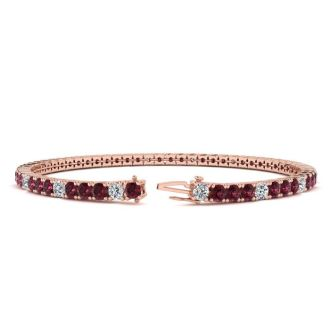 4 1/3 Carat Garnet And Diamond Alternating Tennis Bracelet In 14 Karat Rose Gold, 7 Inches