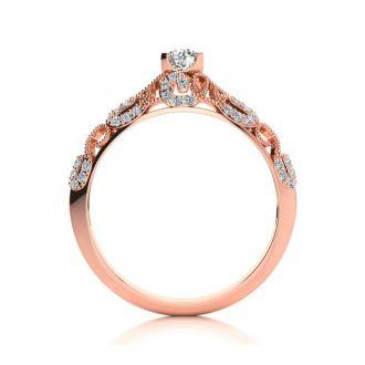 1/2 Carat Vintage Diamond Engagement Ring In 14 Karat Rose Gold