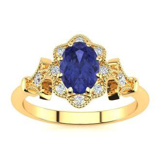 1 Carat Oval Shape Tanzanite and Halo Diamond Vintage Ring In 14 Karat Yellow Gold