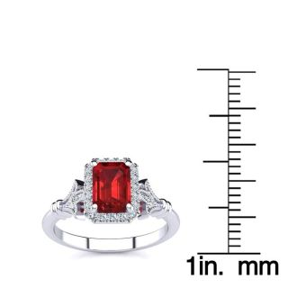 1 1/4 Carat Ruby and Halo Diamond Vintage Ring In 14 Karat White Gold