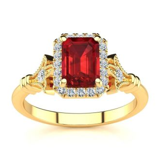 1 1/4 Carat Ruby and Halo Diamond Vintage Ring In 14 Karat Yellow Gold