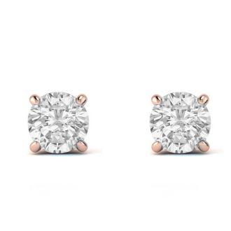 1/4 Carat Diamond Stud Earrings In 14 Karat Rose Gold