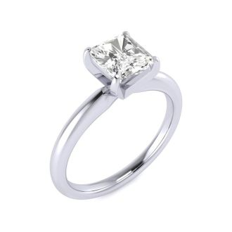 1ct Radiant Cut Diamond Solitaire Engagement Ring In 14K White Gold