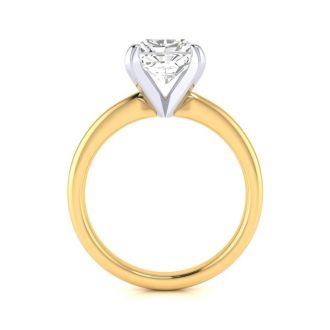 2ct Radiant Cut Diamond Solitaire Engagement Ring In 14K Yellow Gold