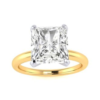 2 1/2ct Radiant Cut Diamond Solitaire Engagement Ring In 14K Yellow Gold