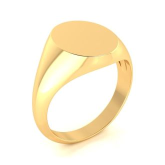 14K Yellow Gold Mens Oval Signet Ring With Free Custom Engraving