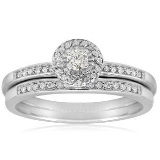 1/4ct Pave Diamond Bridal Set, Round Brilliant Center In Sterling Silver