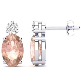 1 2/3 Carat Oval Morganite and Diamond Stud Earrings In 14 Karat White Gold