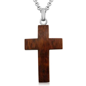 Koa Wood and Stainless Steel Cross Necklace , 24 Inches