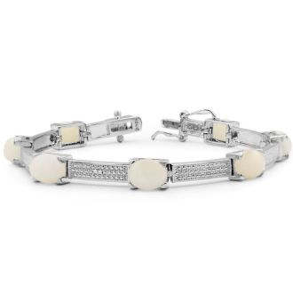 8 Carat Opal and Diamond Bracelet In Platinum Overlay, 7 Inches