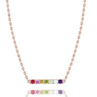 1/2 Carat Natural Gemstone Rainbow Bar Necklace In 14K Rose Gold