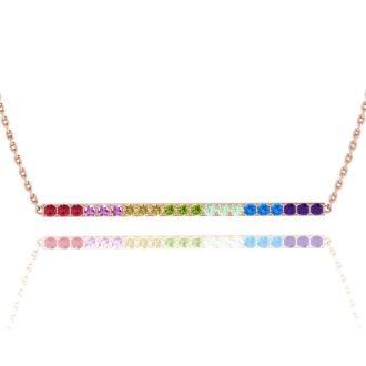 1 1/2 Carat Natural Gemstone Rainbow Bar Necklace In 14K Rose Gold