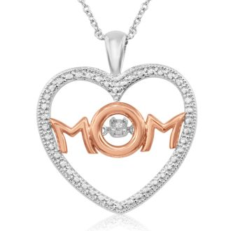Shimmering Stars DiamondI Love Mom Heart Necklace In Platinum Overlay and Rose Gold, 18 Inches
