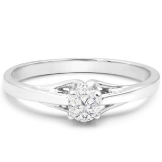 Diamond Solitaire Promise Ring In White Gold