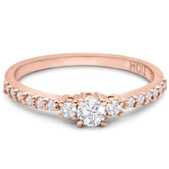 Three Diamond Plus Promise Ring In Rose Gold