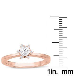 Diamond Flower Promise Ring In Rose Gold