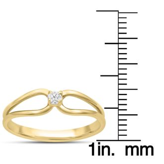 Split Shank Diamond Solitaire Promise Ring In Yellow Gold