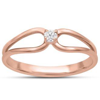 Split Shank Diamond Solitaire Promise Ring In Rose Gold