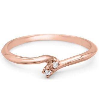 0.02ct Two Diamond Promise Ring In 10 Karat Rose Gold